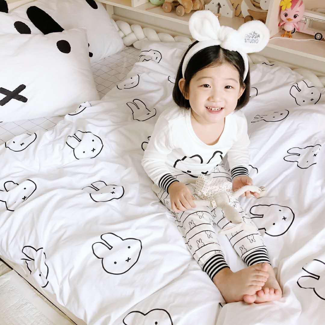 3Pcs Nordic Baby Bedding Sets Cotton Active Cartoon Rabbit Kids Crib Quilt Cover Bed Sheets Long Ear Pillowcase Baby Bedding Set