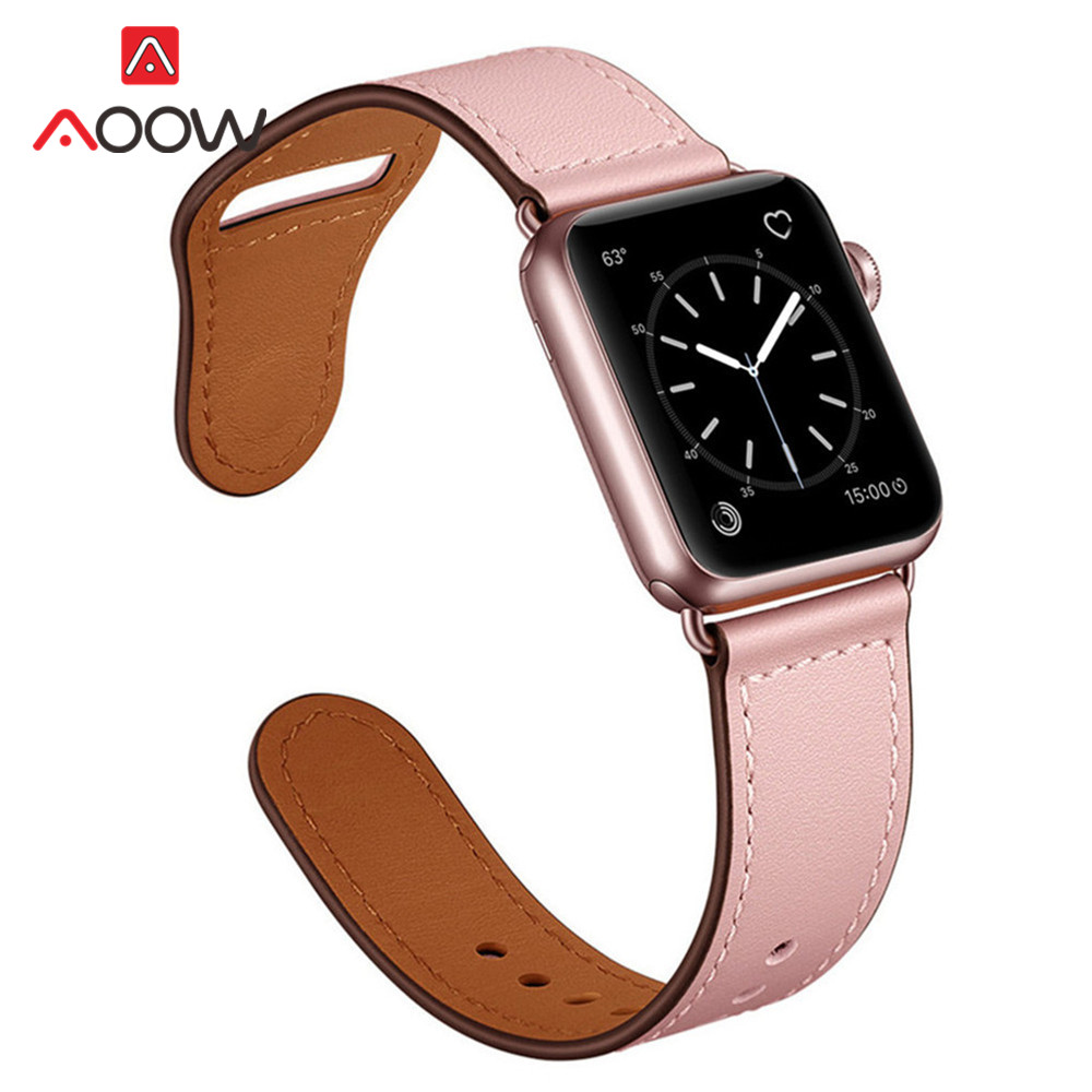 Image 2 - Genuine Leather Loop Strap for Apple Watch 4 40mm 44mm 38mm 42mm High Quality Men Women Watchband Bracelet Band for iWatch 1 2 3-in Watchbands from Watches