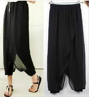 Plus Size S~6XL 2017 Autumn New Women's Leggings High Waist Pants Fake Two Pieces Chiffon Skirt Korean Style LG13