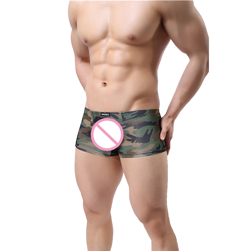 Boxers Cooperative Mens Camouflage Boxer Underwear Men Sexy Zipper Open Pouch Bag Boxers Gay Underwear Man Stage Clothing Shorts Trunks