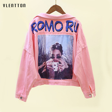 2019 Spring Pink Women's Denim Jacket Coat Bat sleeve Print Jacket For Woman Casual Loose Jean Jacket Outerwear Casaco Feminino spring new pink white denim jacket women single breasted hole pearls bat sleeve female jacket coat casual jean jacket outerwear