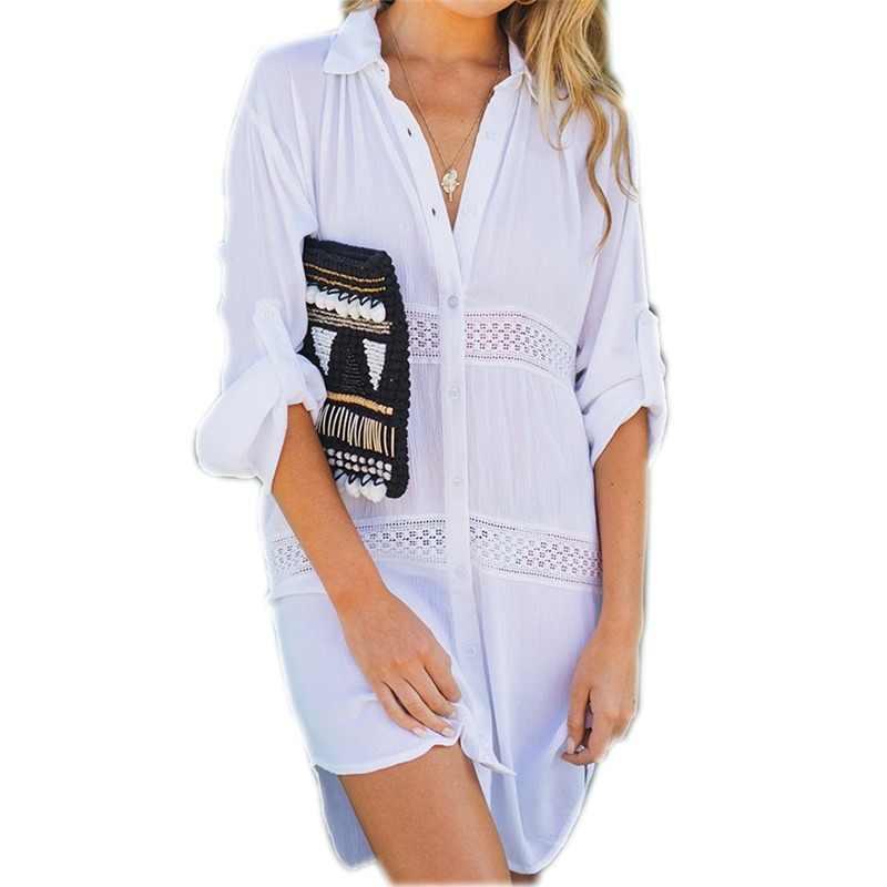 0ac76971dc6e1 2019 Summer Women Beach Wear Cover-ups White Cotton Tunic Bikini Wrap Skirt Swimsuit  Cover