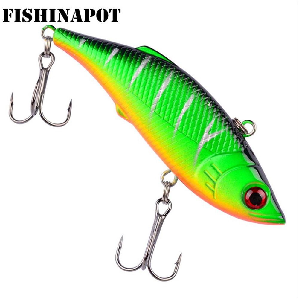 FISHINAPOT 1Pcs 8cm 9.7g Winter Fishing Lures Plastic VIB Hard Bait Lead Inside Vibration Wobbler Fishing Tackle Fake Lure