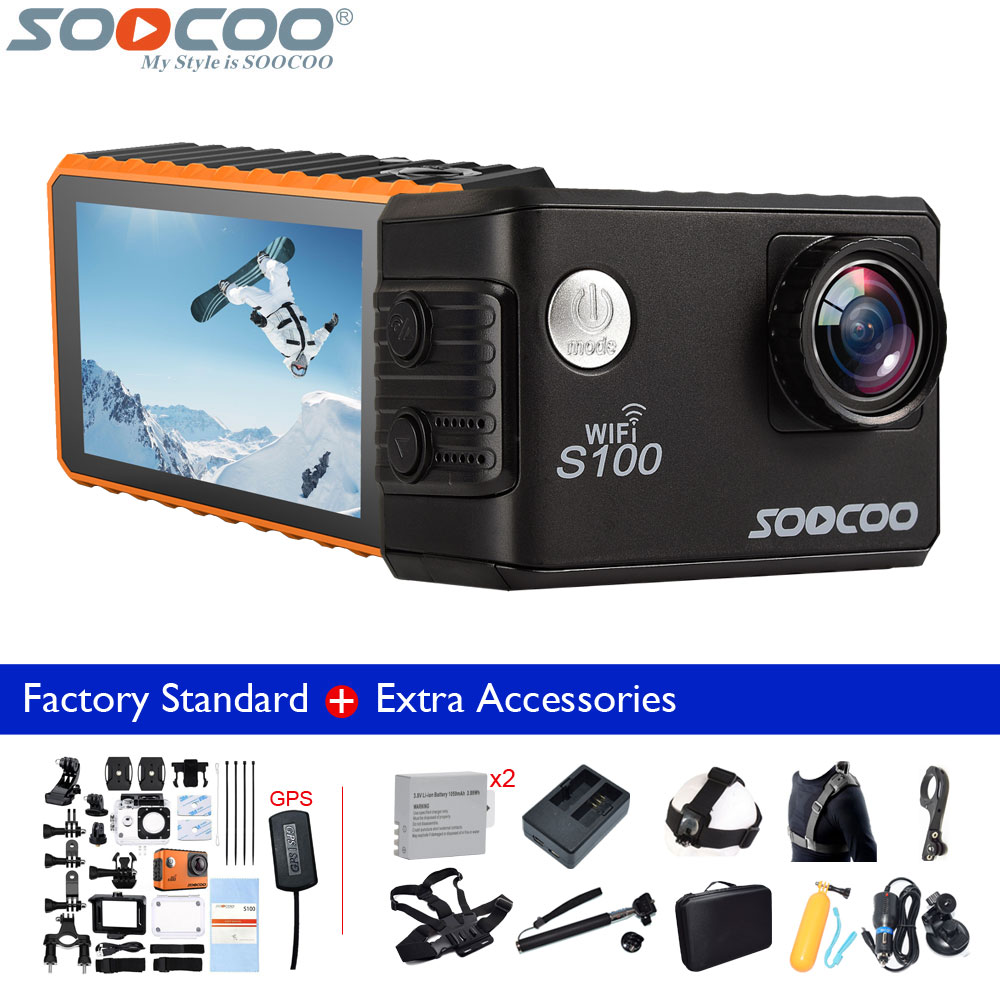Original SOOCOO S100 4K Wifi 20MP Waterproof 30m Mini Sports Action Camera+1050mAh Battery+Charger+Selfie Stick+Many Accessories soocoo c30 sports action camera wifi 4k gyro 2 0 lcd ntk96660 30m waterproof adjustable viewing angles