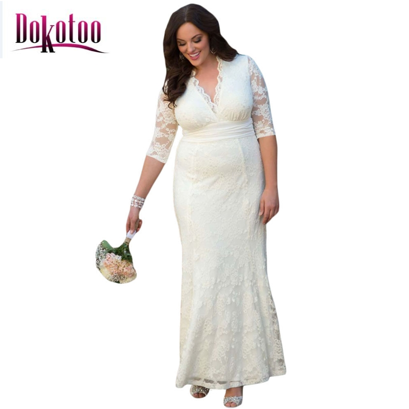Dokotoo Fashion V neck White Plus Size Lace Party Dress ...