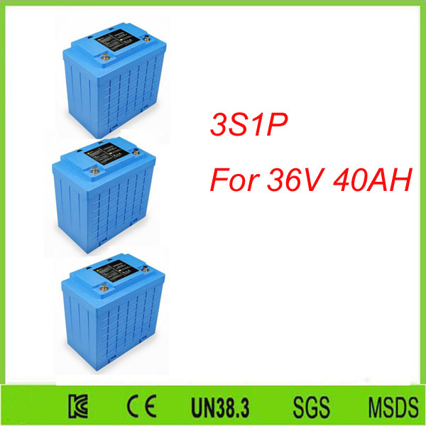 Free shipping 3pcs 3S1P   llithium iron phosphate lifepo4 12v 40ah solar system battery For 36V 40AH lifepo4 battery pack free customs taxes and shipping balance scooter home solar system lithium rechargable lifepo4 battery pack 12v 100ah with bms