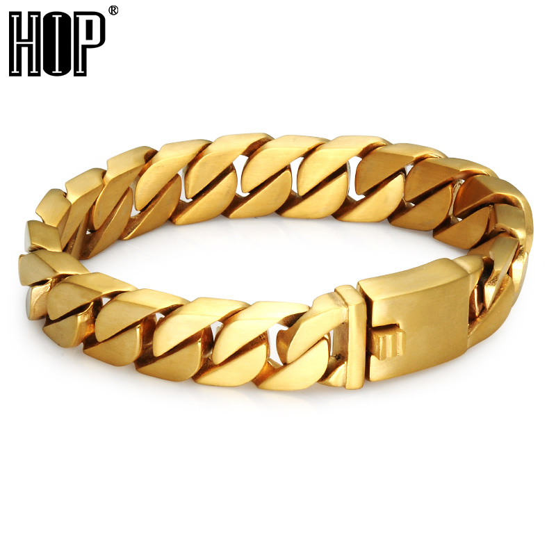 HIP Hop Heavy Rock Curb Cuban Link Chain Bracelet Bling Gold Color 316L Stainless Steel Charm Bracelets For Men Jewelry 8mm 10mm 12mm 14mm stainless steel curb cuban link chain hip hop punk heavy gold silver plated cuban necklace for men
