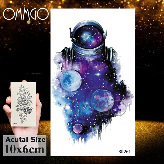 Watercolor Astronaut Universe Temporary Tattoos Sticker For Kids Fake Tattoo Planets Star Tatoos Children Waterproof Space Man 5