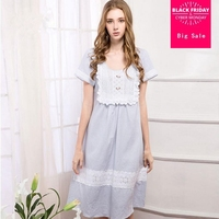 Fshion Blue Cotton deep V Collar SEXY STITCHING RUFFLE Lace sleep wear Korean Princess Short Sleeve Sleeping Cardigan wj954