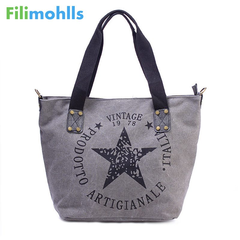 2019 BIG STAR PRINTING VINTAGE CANVAS SHOULDER BAGS Women Travel Tote Factory Outlet Plus Size Multifunctional Bolsos S1636 Сумка