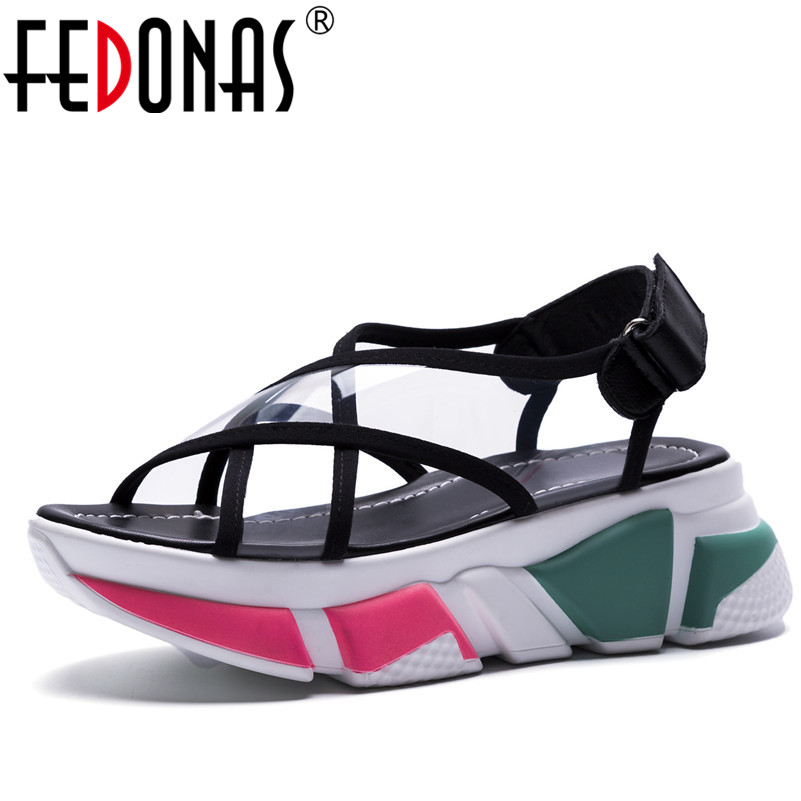 FEDONAS Women Comfortable 2018 Summer Wedges High Heels Sandals Sexy Rome Style Comfortable Platforms Shoes Woman Sexy Sandals fedonas new women gladiator sandals wedges high heel fashion ladies glitters wedding party shoes woman platforms summer sandals