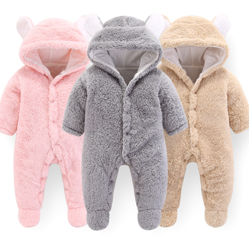 2019 Newborn Winter Baby Jumpsuit Baby Girl Polyester Hooded Overalls For Infant Girl Unisex Baby Boy   Rompers   3M 6M Kids Clothes