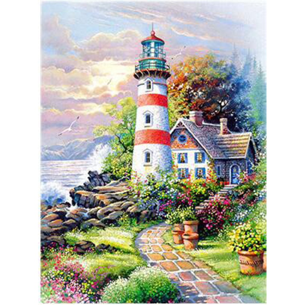 5D Diamond Embroidery Waterfront Lighthouse Crystal Painting Full Square Diamond Painting Landscape Rhinestone Cross Stitch a433 image