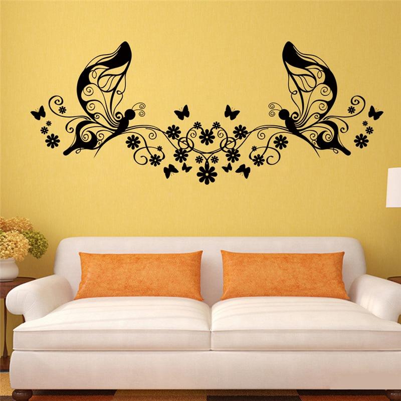 wonderful butterfly flowers vine fairy wall decals art home ...