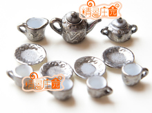 G05-X4432 barn älskling gåva 1:12 Dollhouse mini möbler Miniatyr rement-bly-silver Art Tea 11st / set