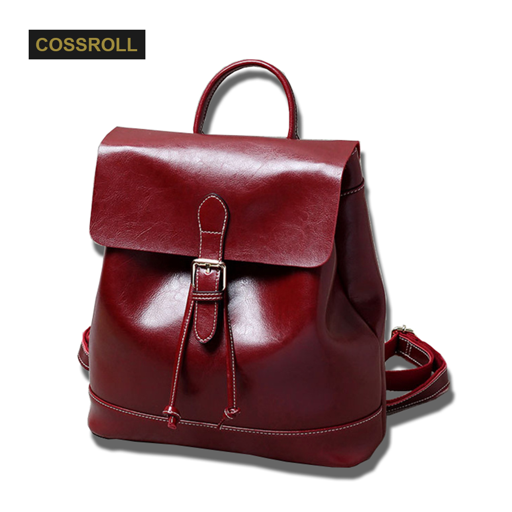 Brand Women Backpack Vintage Oil Wax Leather Double Shoulder Bag Women Leisure Solid Color Satchel Girl Fashion Backpacks 2017 fashion women waterproof oxford backpack famous designers brand shoulder bag leisure backpack for girl and college student