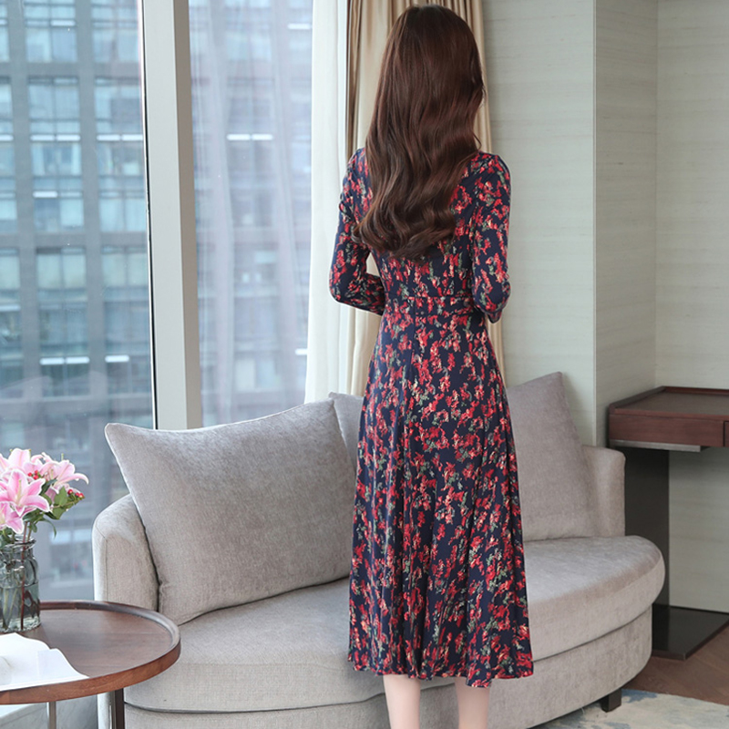 Autumn Winter New 3XL Plus Size Vintage Midi Dresses 2018 Women Elegant Bodycon Floral Dress Party Long Sleeve Runway Vestidos 6