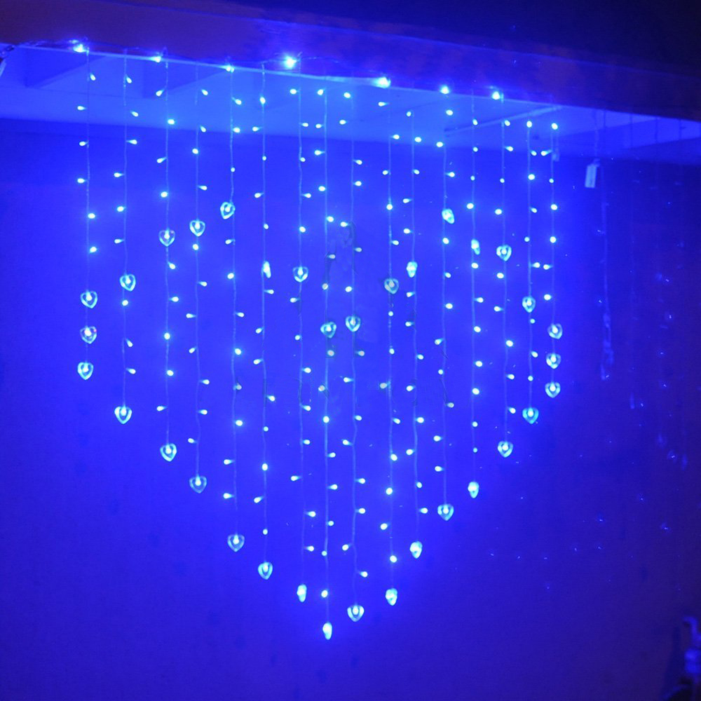 Plug US/EU/UK Blue Color LED Curtain String Lights 124les Heart Shape LED  Lamps For Festival Decoration