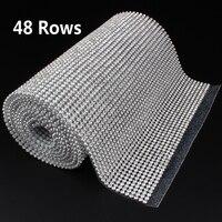 48 Rows SS8 Diamond Hotfix Rhinestone Mesh Banding Chain with silver Aluminum base crystal trim mesh 15.5cm*120cm for garment