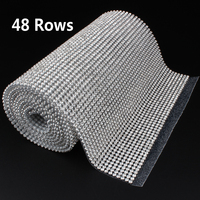 48 Rows SS8 Diamond Hotfix Rhinestone Mesh Banding Chain with silver Aluminum base crystal trim mesh 15.5cm*120cm for garment