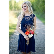 Hot Sell Dark Blue Bridesmaid Dresses 2017 Sexy Sheer Lace Jewel Neck A Line Backless Chiffon
