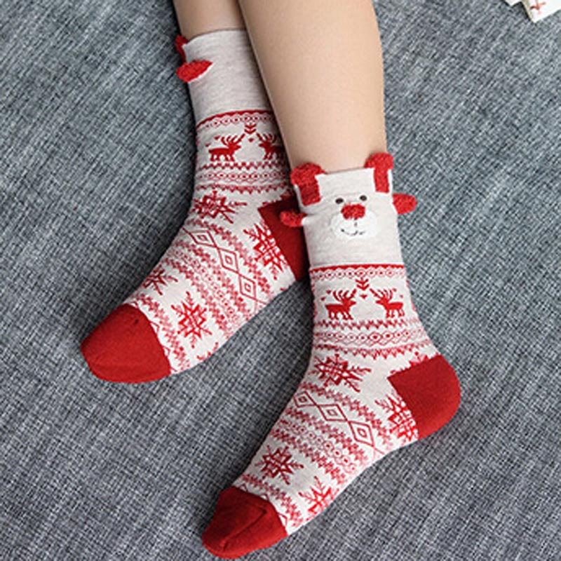 2018 1 pair New Winter Warm Christmas Socks Deer Elk Xmas Gift kawaii Xmas Socks for Women Girls Merry Christmas Gifts HO986970