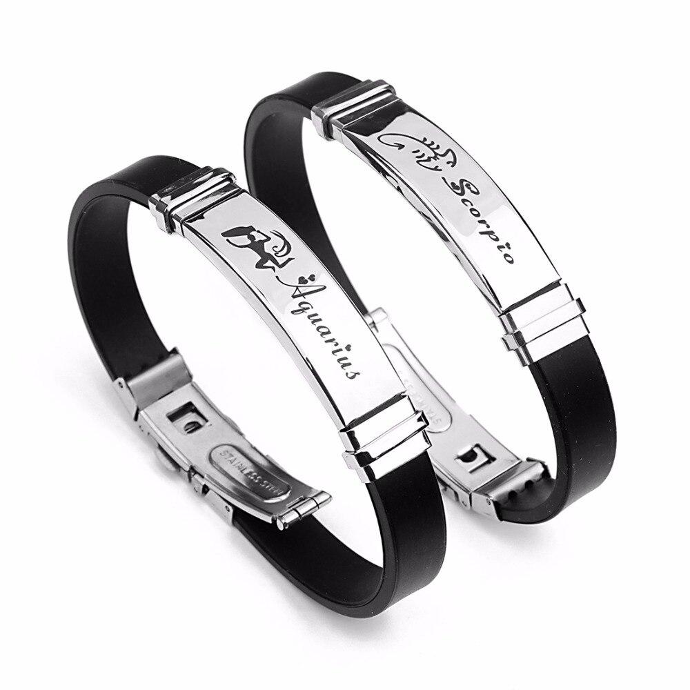 Mibrow Stainless Steel Clasps Zodiac Sign Bracelet Men Gemini Scorpio Zodiac Silicone Leather Bracelet for Men Women Jewelry