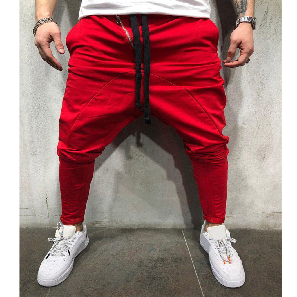 2019 Mens Joggers 2019 New Red Black Fashion Cargo Pants Men Cotton Harem Pants Hip Hop Trousers Streetwear#11