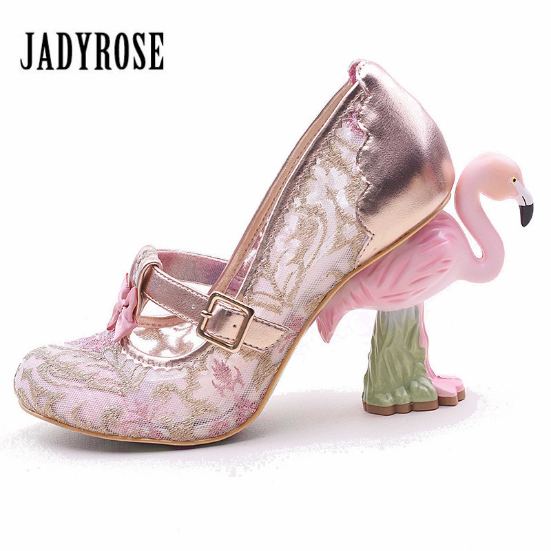 Jady Rose Strange Heel Hollow Out Mesh Women Pumps Flower Embroidery Sexy High Heels Mary Janes Shoes Woman 2017 Valentine Shoes
