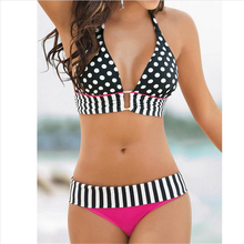 Biquini Retro Brazilian Swimsuit Stripe Dotted Women Vintage Bikini Swimsuit Plus size Swimwear Lace-up Bathing Suit Praia Maio