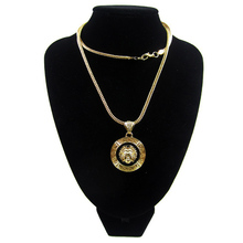 FREE SHIPPING CELEBRITY STYLE ENAMEL MEDUSA PENDANT WITH LONG CHAIN FASHION PLATED GOLD NECKLACE HIGH QUALITY BBOY NECKLACE
