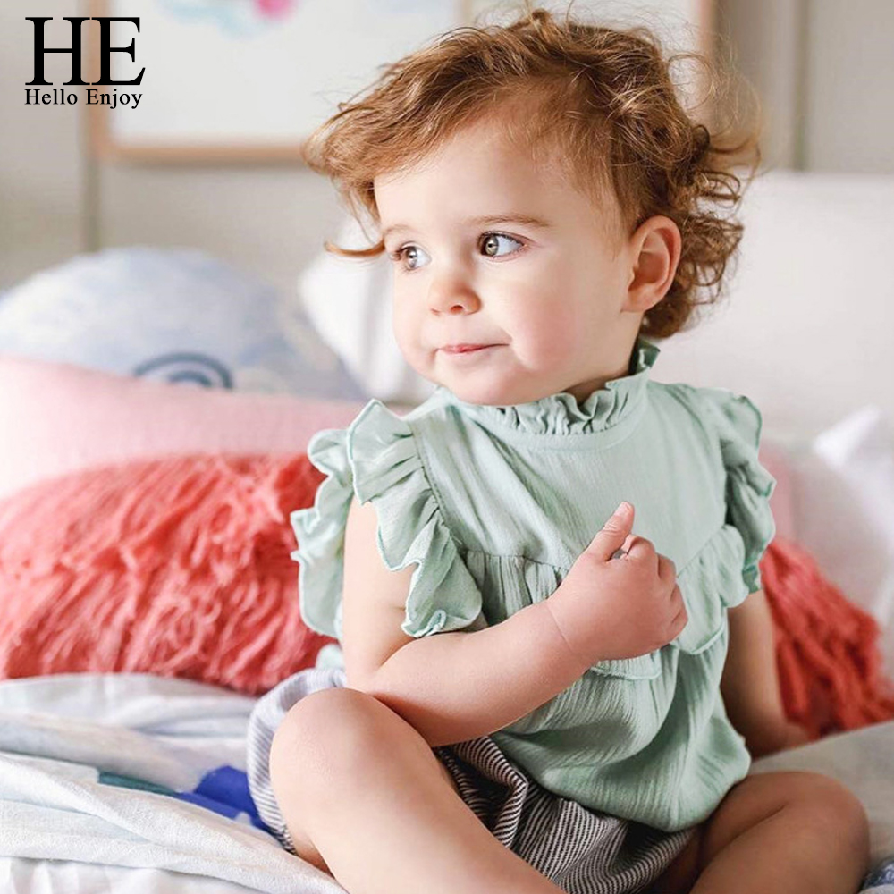 HE Hello Enjoy Baby Girl Clothing Newborn Clothes Summer 2018 Cotton Sleeveless Lace Collar Jumpsuits Sunsuit Baby Girls Rompers frilled collar lace yoke sleeveless top