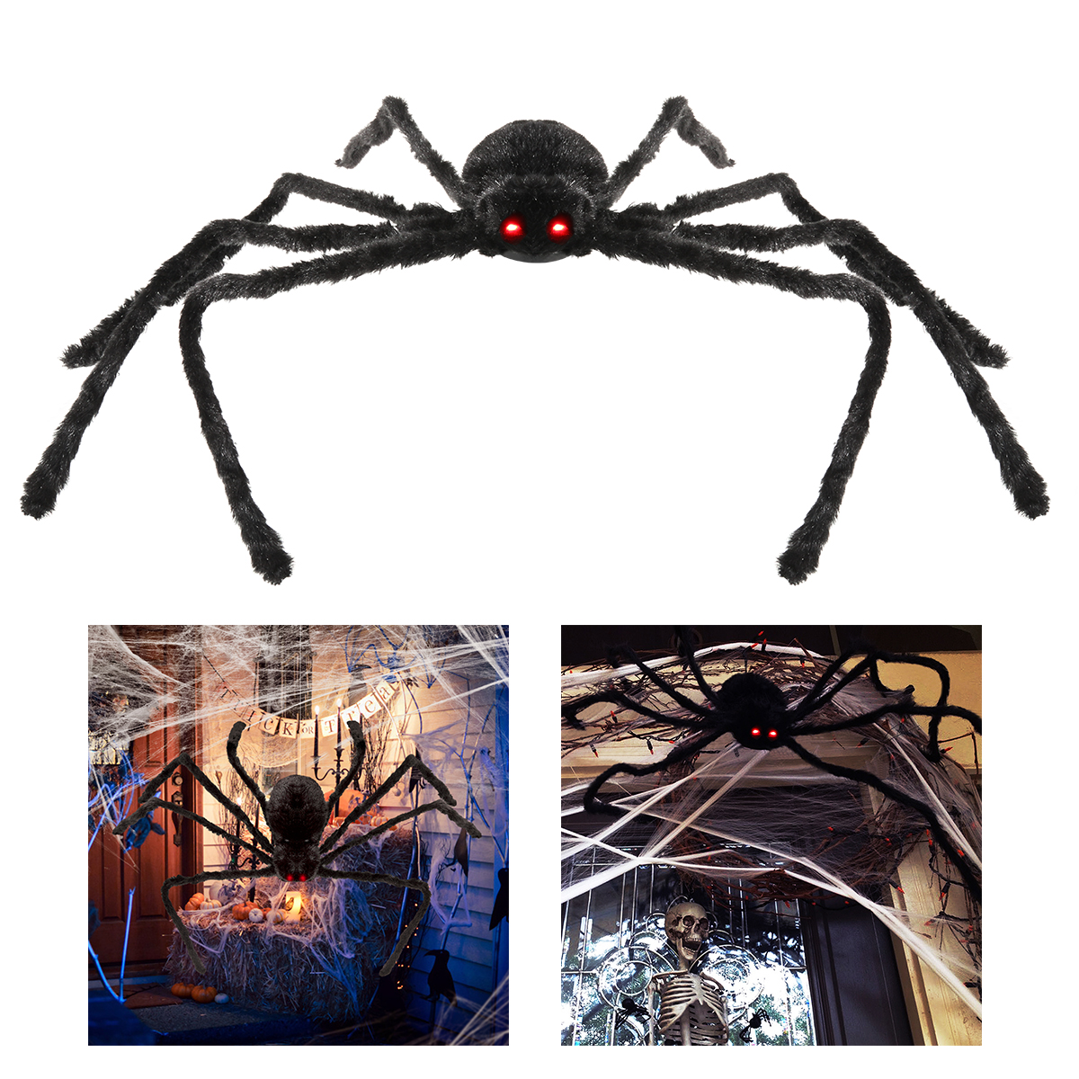 Halloween spider decoration - Poseable Furry Spider Led Sound Control Simulate Black Giant Hairy Spider Halloween Party Prop Decoration Halloween Spider Decor