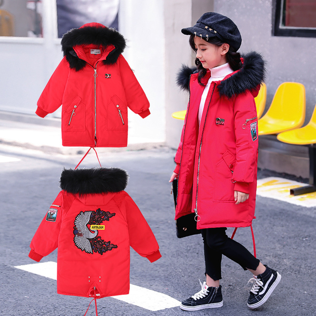 Cheap 2018 Teenage Girl Parka Snowsuits Children's Winter Down Jacket For Girls Kids Clothes Hooded Jackets Teen Clothing Outfits Coat