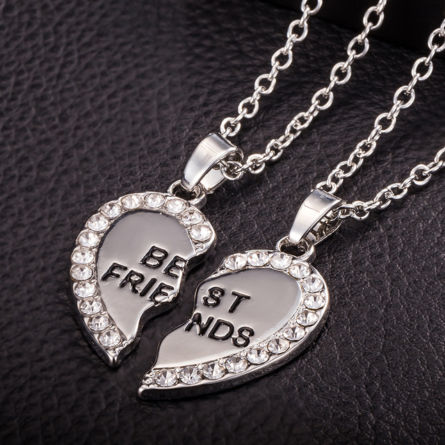Best Friends Necklace 2 Parts Charming Splice Broken Crystal Heart Letter Pendant Forever Silver/Gold Color Friendship Jewelry