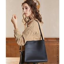 цена на Cowhide Single Shoulder Bag Real Leather Tote Bag For Women Top Handle Crossbody Handbag Messenger Bag Black/Grey/White Color