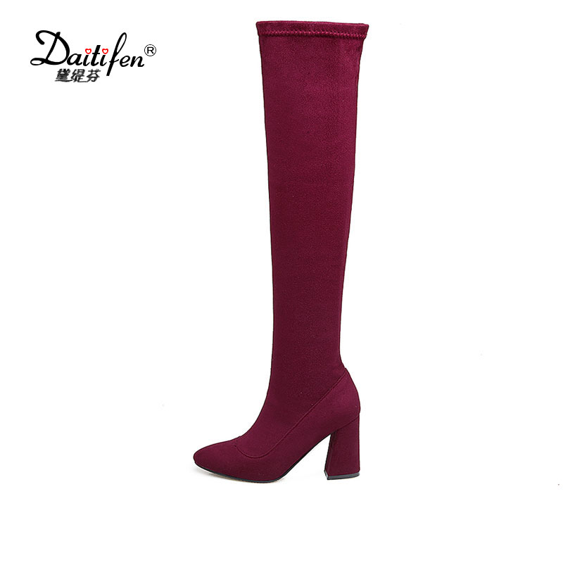 где купить  Daitifen Mature Pointed Toe Over The Knee Boots Faux Suede Winter Boots Sexy High Heel Women Shoes  Zip Footwear Size 33-46  по лучшей цене