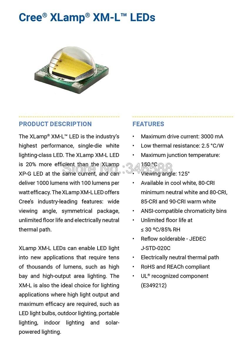 US $5 3 15% OFF|Cree XML XM L T6 Cold White Neutral White Warm White 10W  High Power LED Emitter 20mm White PCB +16mm DC3 7V 2A Driver 5 Modes-in  Light