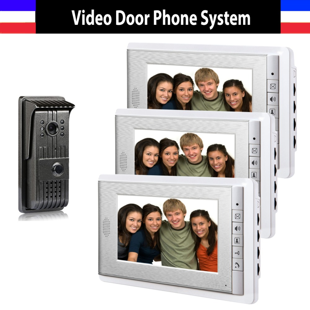 7 Inch Monitor Color Wired Video Door Phone Intercom System Night Vision Door Bell Video 3 Monitor Doorphones 1 Doorbell Camera