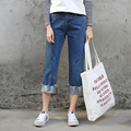 Loose Boyfriend Jeans Woman Straight Leg Denim Pants Slim Ankle Length Cuffs Hem Students Ripped Jeans Femme Spring Casual Pants