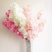 Silk Cherry 100cm/39.37 Length Artificial Flowers Encrypted Begonia 3 Layers of Petals Sakurafor Wedding Centerpieces