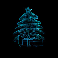 Christmas Tree 3D Led Light Atmosphere Lamp USB Night Light Touch Switch 7 Color Change Kids
