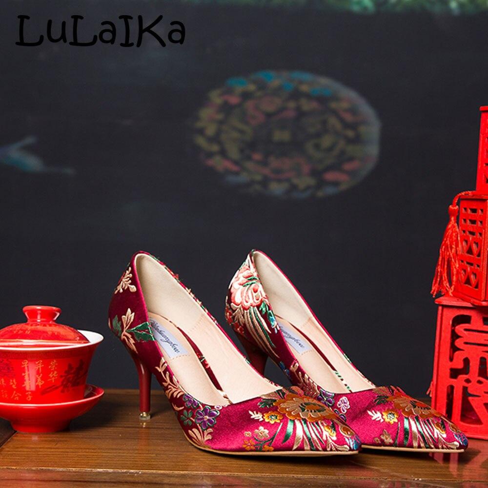 B gold A Flores Las Color Punta red de De Green Calidad Boda Zapatos Bombas Bordado Terciopelo Nupcial red 2018 black Alta Satén Mujeres Calidad vxRwRFnB