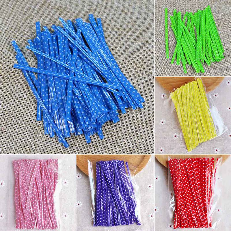 100Pcs/pack Candy Color Dot Print Twist Ties Wire For Cake Pops Sealing Cello Bags Lollipop Gifts Package 6 Colors