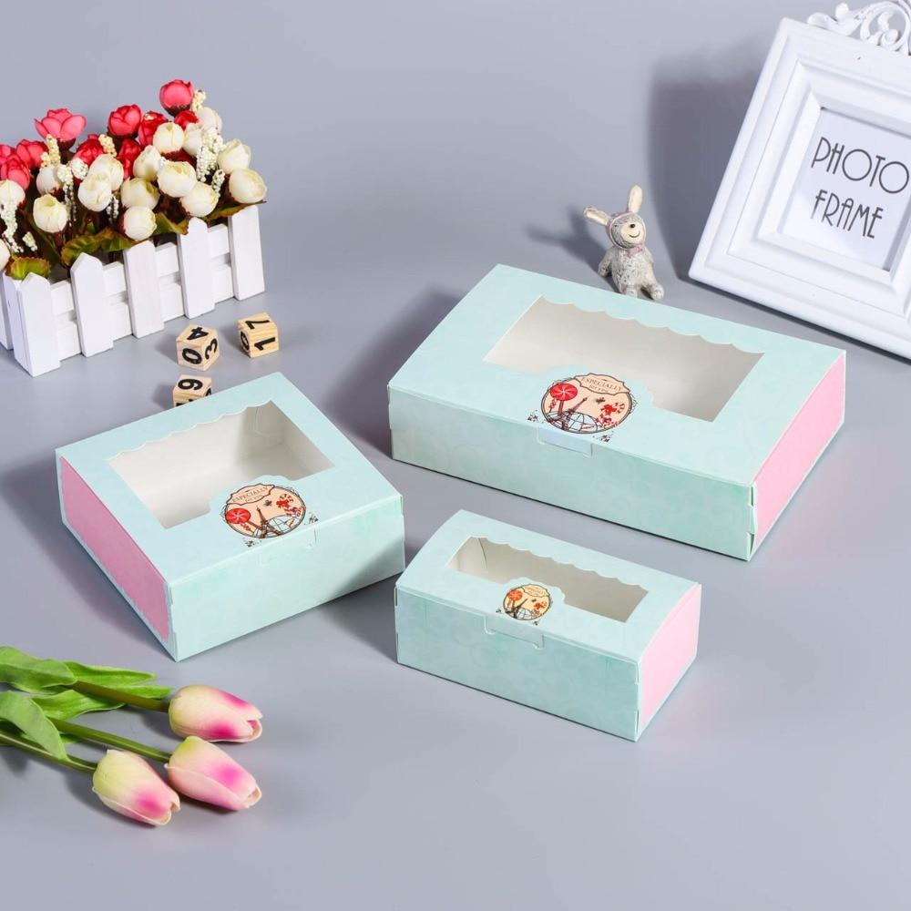 40 Pcs Paper Box Windows Kids Birthday Circus Cake Kraft Gift Paper Packaging Box For Food Baking Sweet Candy Cookies Supplier