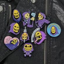 Maestro de el universo hombre Skeletor azul púrpura Comics pines y broches con dibujos animados para los hombres, los niños unsex regalos