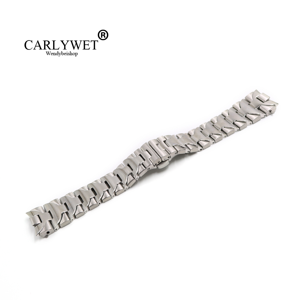 CARLYWET 24mm High Quality Silver Middle Polish Solid Curved End Links Stainless Steel watch band Bracelet For Panerai Luminor carlywet 22 24mm silver solid screw links replaceme 316l stainless steel wrist watch band bracelet strap with double push clasp