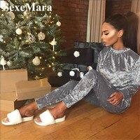 Velvet Two Piece Set Top And Pants Tracksuit Women Sweat Suits 2016 Winter Women Pants Suits