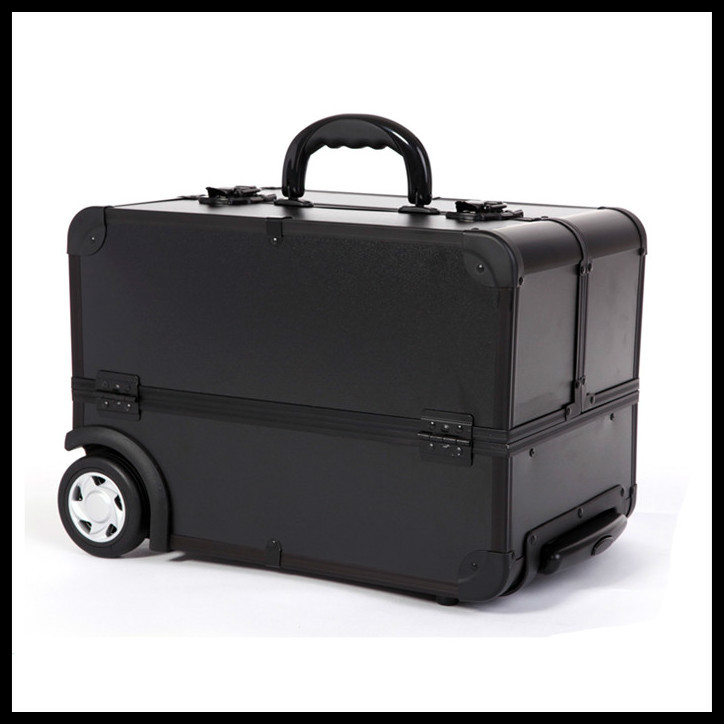 ... EMS Free Shi[pping Professional Trolley Beauty Box Makeup Case with wheels BLACK ...