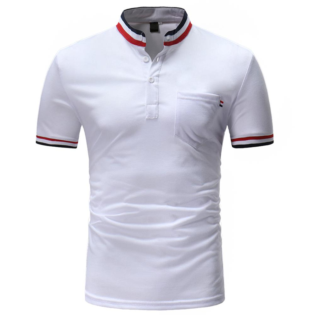 Yfashion Men Summer Shirts Stand up Collar Colourful Stripes Short Sleeve Casual Tops in Casual Shirts from Men 39 s Clothing